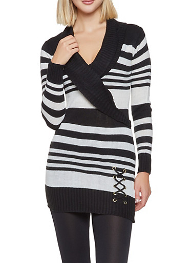Shawl Collar Striped Sweater Dress,BLACK,large