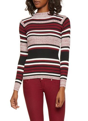 Striped Mock Neck Sweater,WINE,large