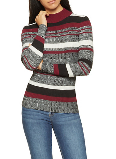 Striped Mock Neck Sweater,WINE,large