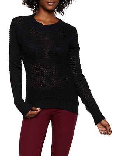 Solid Knit Sweater,BLACK,large
