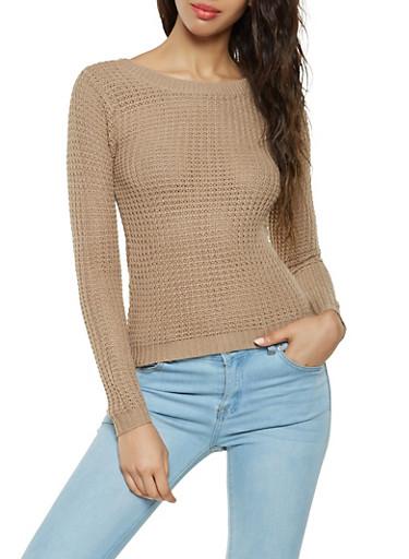 Waffle Knit High Low Sweater,KHAKI,large