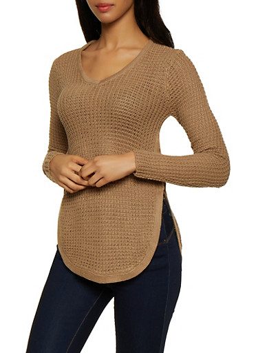 Lace Up Side V Neck Sweater,KHAKI,large