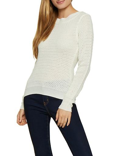 Long Sleeve Crew Neck Sweater,IVORY,large