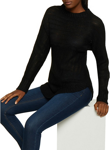 Long Sleeve Sweater,BLACK,large