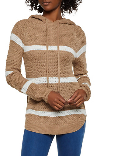 Hooded Long Sleeve Striped Sweater,KHAKI,large