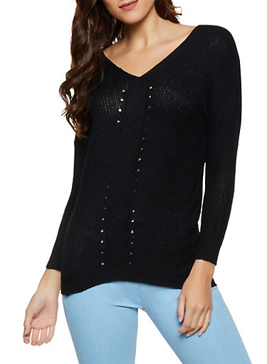 Perforated Detail Tunic Sweater,BLACK,large