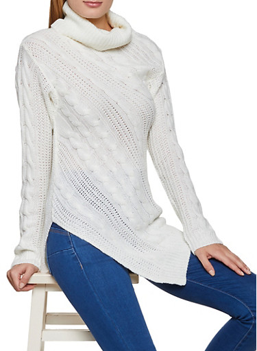 Cowl Neck Cable Knit Sweater,IVORY,large