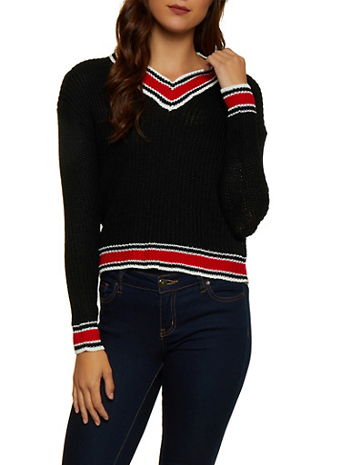 Striped Trim Sweater,BLACK,large