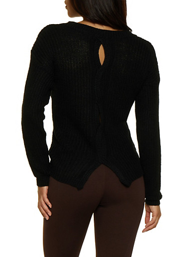 Woven Back Sweater,BLACK,large