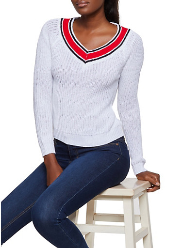 Contrast V Neck Knit Sweater,WHITE,large