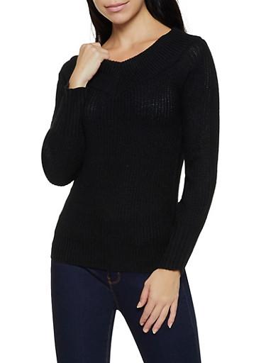 Long Sleeve V Neck Sweater,BLACK,large