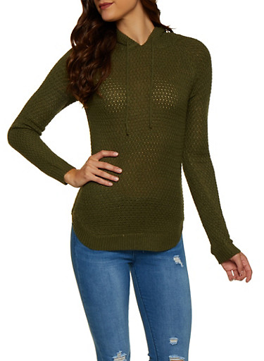 Hooded Tunic Sweater,OLIVE,large