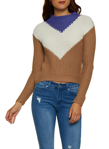 Chevron Mock Neck Sweater,PURPLE,large