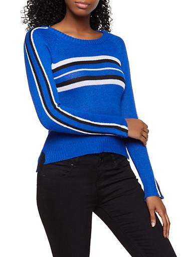 Stripe Detail Long Sleeve Sweater,RYL BLUE,large