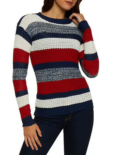 Striped Crew Neck Sweater | 3020038349127,NAVY,large