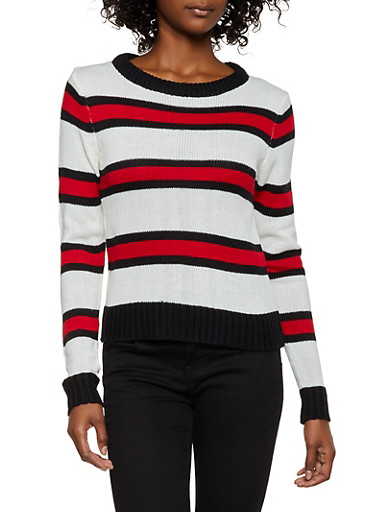 Crew Neck Striped Sweater,IVORY,large