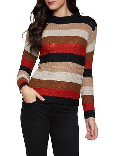 Multi Stripe Sweater,BROWN,large