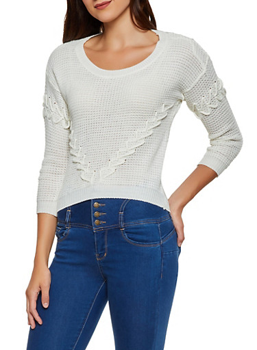 Scoop Neck Lace Up Knit Sweater,IVORY,large