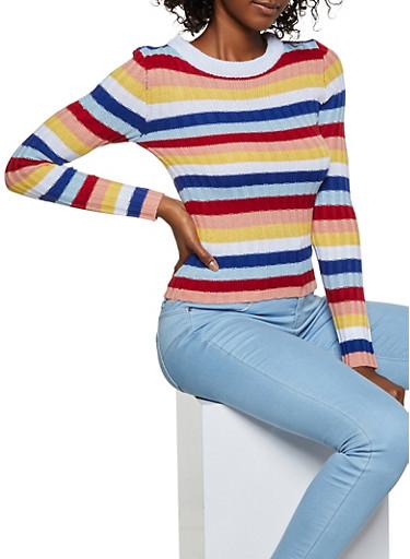 Striped Crew Neck Knit Sweater,MULTI COLOR,large