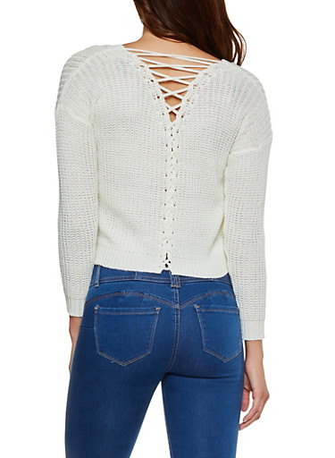 Lace Up Back Sweater,IVORY,large