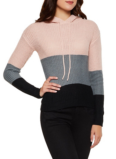 Color Block Hooded Sweater,ROSE,large