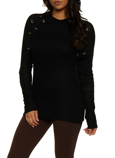 Lace Up Detail Knit Sweater,BLACK,large