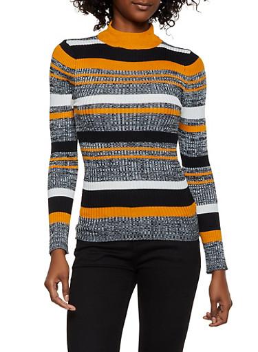 Striped Mock Neck Sweater | 3020038349420,CAMEL,large