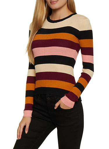 Striped Knit Crew Neck Sweater,WINE,large