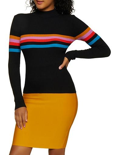 Stripe Detail Sweater,BLACK,large