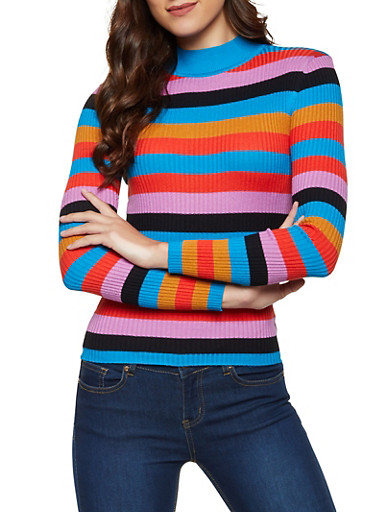 Striped Knit Mock Neck Sweater,TEAL,large