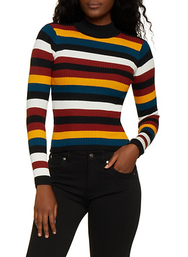 Striped Mock Neck Sweater,RUST,large