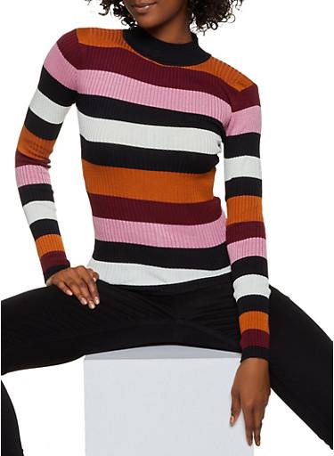 Mock Neck Striped Sweater,WINE,large