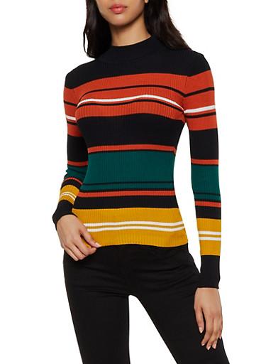 Multi Color Stripe Sweater,BLACK,large