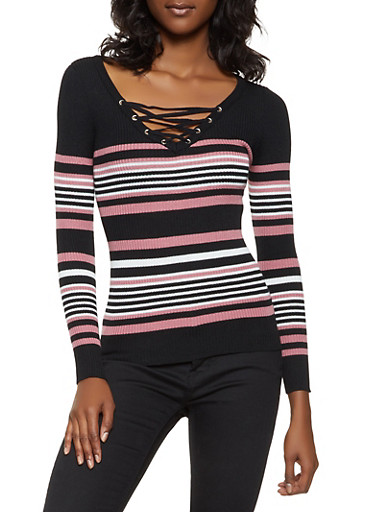 Striped Lace Up Sweater,MAUVE,large