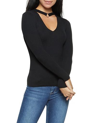 O Ring Keyhole Sweater,BLACK,large