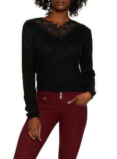 Crochet Detail Knit Sweater,BLACK,large