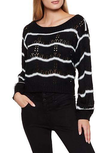 Striped Eyelet Sweater,BLACK,large