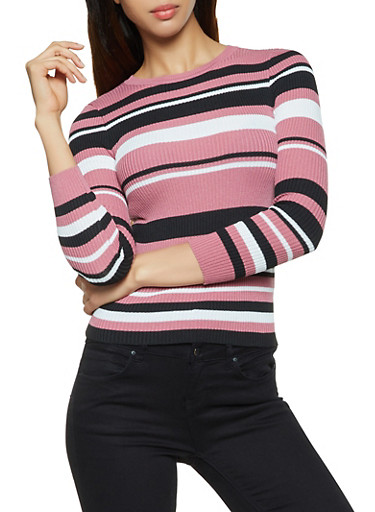 Striped Long Sleeve Ribbed Sweater,ROSE,large