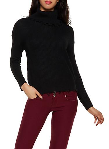 Frayed Turtleneck Sweater,BLACK,large