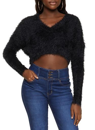 Eyelash Knit Cropped Sweater,BLACK,large