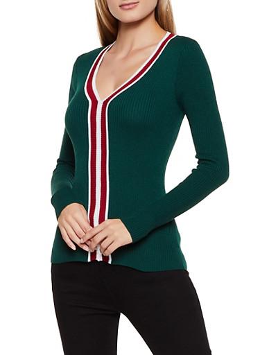 V Neck Contrast Trim Sweater,GREEN,large