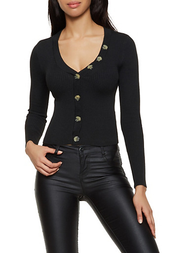 V Neck Button Front Sweater,BLACK,large