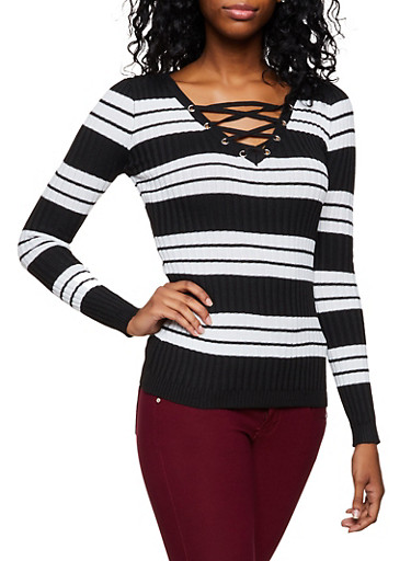 Striped Lace Up Sweater | 3020051060203,BLACK,large