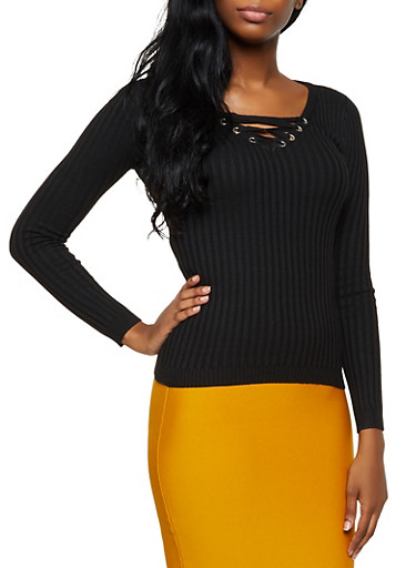 Lace Up Ribbed Sweater,BLACK,large