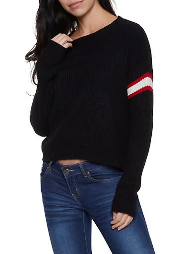 Striped Detail Sweater,BLACK,large