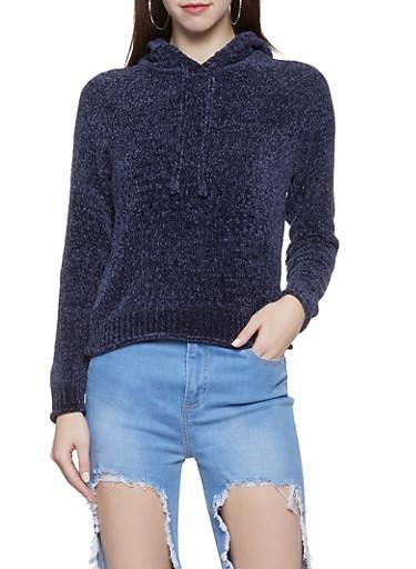 Hooded Chenille Sweatshirt,NAVY,large