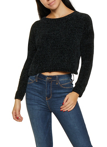 Cropped Chenille Sweater,BLACK,large