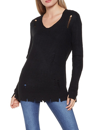 Distressed Knit Sweater,BLACK,large