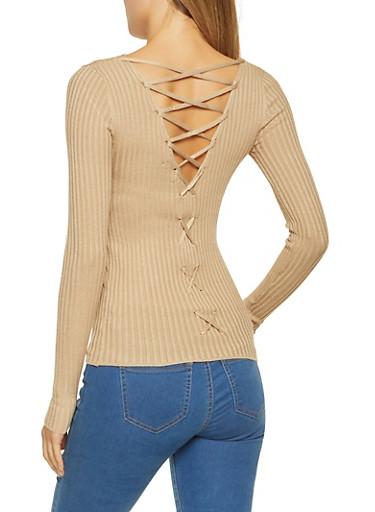 Lace Up Back Sweater,KHAKI,large