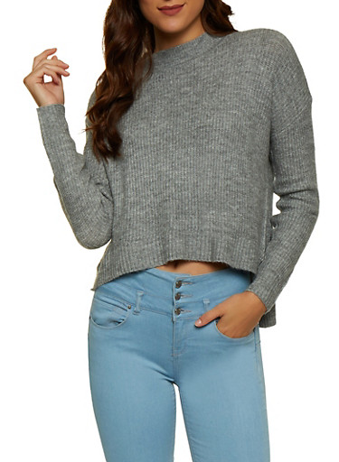 Mock Neck High Low Sweater,HEATHER,large